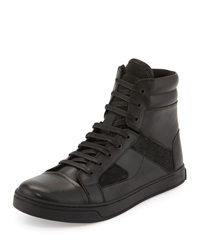 Kenneth Cole All About Swag Leather High Top Sneaker Black