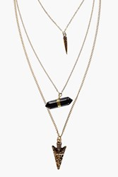 Boohoo Layered Spike And Crystal Necklace Gold