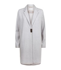 Fabiana Filippi Wool Check Car Coat Female Light Grey