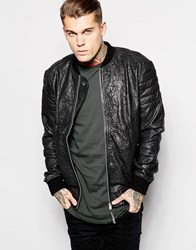 Religion Leather Bomber Jacket With Quilted Sleeves Black