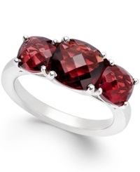 Macy's Garnet Three Stone Ring In Sterling Silver 4 Ct. T.W.
