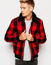 Selected Homme Wool Bomber Jacket With Faux Shearling Lined Collar Black