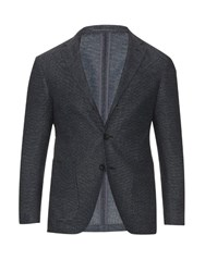 Ac Cantarelli Three Button Wool Blend Blazer Blue