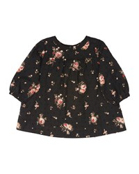 Bonpoint Long Sleeve Floral Shift Dress Black