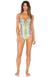 Ale By Alessandra Brazil Lace Up Swimsuit Teal
