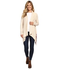 Woolrich Long Way Fringe Cardigan Wool Cream Heather Women's Sweater Beige