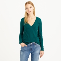 J.Crew Petite Vintage Cotton Long Sleeve V Neck Tee