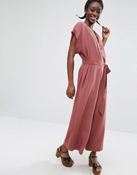 Monki Tie Waist Jumpsuit Purple