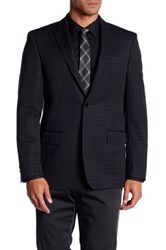 John Varvatos Checkered Two Button Notch Lapel Wool Sport Coat Black