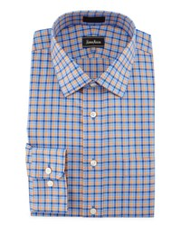 Neiman Marcus Classic Fit Non Iron Check Dress Shirt Orange Blu