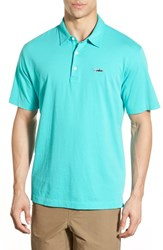Men's Patagonia 'Trout Fitz Roy' Organic Cotton Polo Howling Turquoise