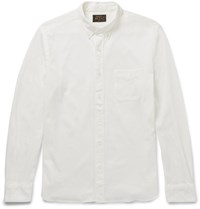 Beams Plus Slim Fit Button Down Collar Cotton Jersey Shirt Neutrals