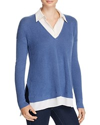 Ralph Lauren Layered Look Cashmere Sweater Poetry Blue
