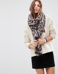 Asos Oversized Long Woven Scarf In Pink Leopard Pink