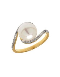 Lord And Taylor 9Mm Pearl Diamond 14K Yellow Gold Ring