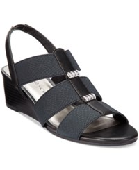 Karen Scott Johane Stretch Wedge Sandals Only At Macy's Women's Shoes Black