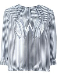 J.W.Anderson J.W. Anderson Graphic Logo Striped Blouse Black