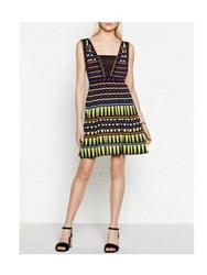 M Missoni Plunging Neckline Stripes And Triangles Knitted Dress Lime