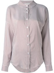 Lucio Vanotti High Neck Striped Shirt Red