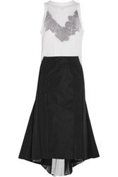Sacai Guipure Lace Trimmed Plisse Chiffon And Crepe Dress Off White