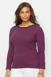 Lauren Ralph Lauren Metallic Trim Boatneck Stripe Top Plus Size Purple