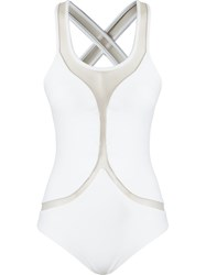 Blue Man Panelled Swimsuit White