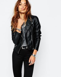 Noisy May Leather Look Biker Jacket Black