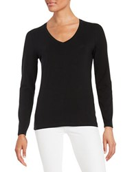 Lord And Taylor V Neck Tee Black