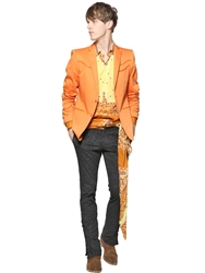 Etro Stretch Gabardine Western Jacket Orange