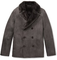 Berluti Double Breasted Shearling Coat Gray