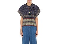 Sea Women's Silk Georgette Peasant Top Navy