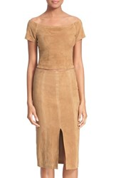 Women's Alice Olivia 'Gracelyn' Suede Crop Top Tan