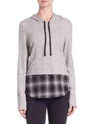 Generation Love Chester Plaid Combo Hoodie Charcoal