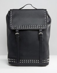 Asos Backpack In Faux Leather With Studs Black