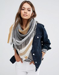 Pieces Woven Oversized Scarf In Tabacco And Grey Mix Moonbeam