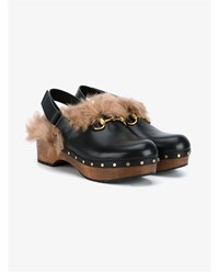 Gucci Amstel Kangaroo Fur And Leather Clogs Black Multi Coloured