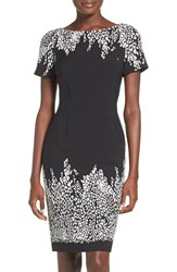 Adrianna Papell Women's Placed Print Stretch Sheath Dress