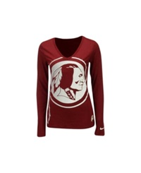 Nike Women's Long Sleeve Washington Redskins Logo Wrap T Shirt Burgundy