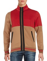 Laboratory Lt Man Colorblocked Zip Front Jacket Red Tan