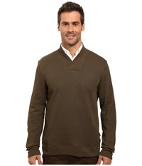 Perry Ellis Textured Crossover V Neck Forest Pine Men's Clothing Brown