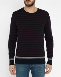 Commune De Paris Navy St Ouen Jacquard Sweater Blue