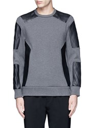 Neil Barrett Quilted Faux Leather Patch Sweatshirt Grey