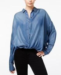 William Rast Aster Chambray Cross Front Shirt Ratio Wash