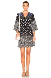Suno Button Front Fit And Flare Dress In Black Floral Black Floral