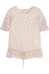 See By Chloe Blusa Printed Swiss Dot Chiffon Top Nude
