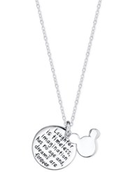 Disney Mickey Mouse Inspirational Pendant Necklace In Sterling Silver