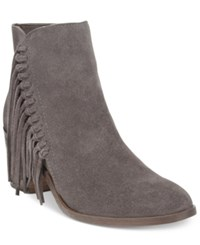 Kenneth Cole Reaction Rotini Fringe Ankle Booties Women's Shoes Grey