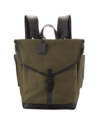 Cole Haan Leather Trim Canvas Messenger Backpack Olive