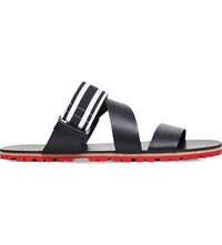 Danward Striped Leather Sandals Blk Red