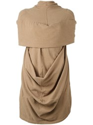 Rick Owens Drkshdw Draped Knitted Top Brown
